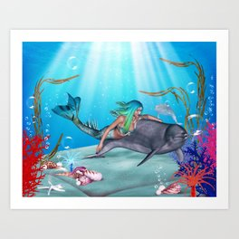 The Mermaid And The Dolphin Art Print