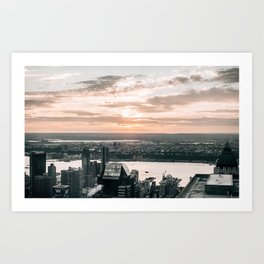 New York City Sunset Skyline Art Print