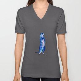 'Meekly Blue' Blue Pointillism Meerkat Illustration Unisex V-Neck