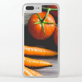 Carrots and Tomatoes Close Up Clear iPhone Case