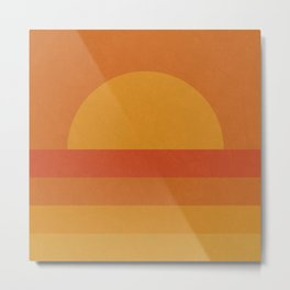 Retro Geometric Sunset Metal Print