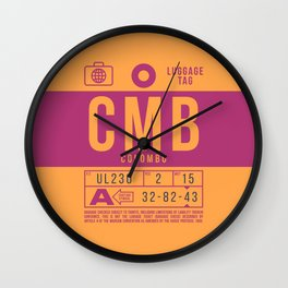 Baggage Tag B - CMB Colombo Sri Lanka Wall Clock