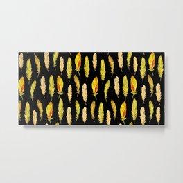 Hand drawn feathers pattern Metal Print