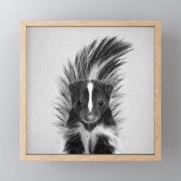 Skunk - Black & White Framed Mini Art Print