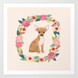 chihuahua floral wreath flowers dog breed gifts Art Print
