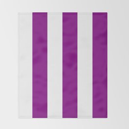 Wide Vertical Stripes - White and Purple Violet Throw Blanket