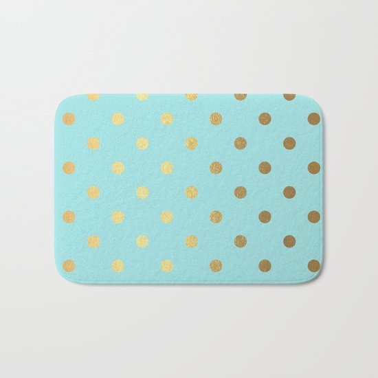 Gold polka dots on aqua background - Luxury turquoise pattern #Society6 Bath Mat