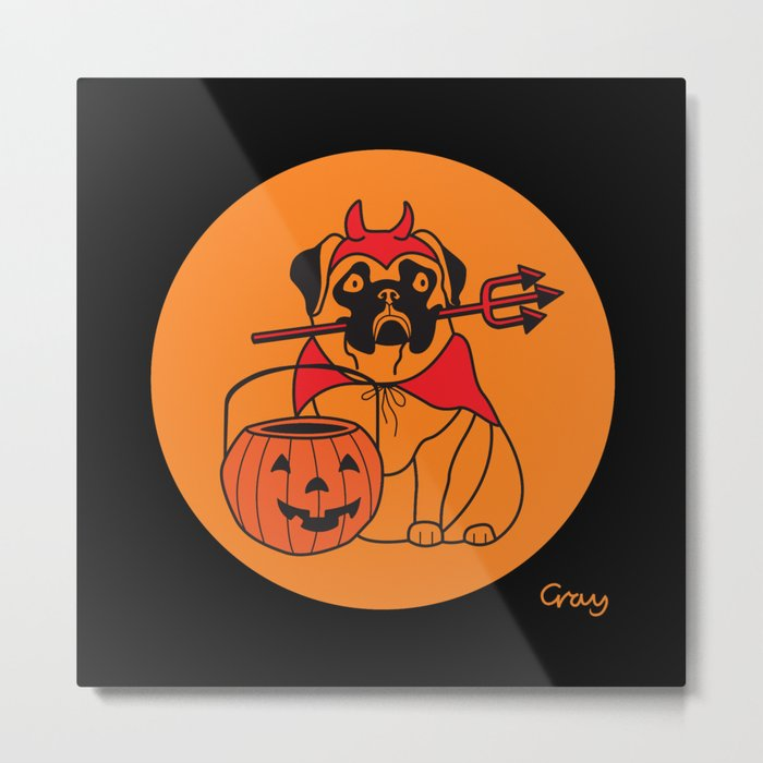 pumpkin pug Metal Print