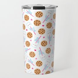 Happy Milk and Cookies Pattern Travel Mug