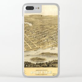 Bird's Eye View of Portage, Wisconsin (1868) Clear iPhone Case