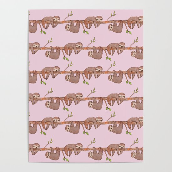 Lazy Baby Sloth Pattern in Pink by tanyalegere