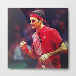 Federer Tennis Swiss Metal Print