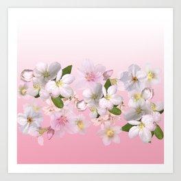 Pink floral blush garden. Art Print