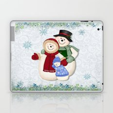 Snowman and Family Glittered Laptop & iPad Skin