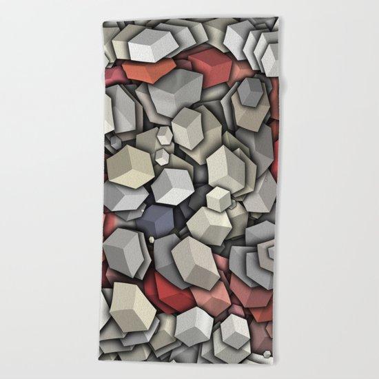 Chaotic 3D Cubes Beach Towel