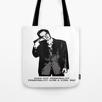 quentin tarantino Tote Bags featuring TARANTINO by Rocky Rock