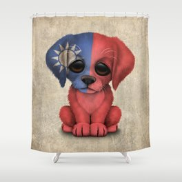 Cute Puppy Dog with flag of Taiwan Shower Curtain