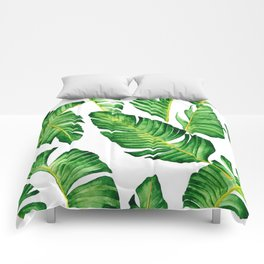 Banana Leaves pattern in watercolor Comforters