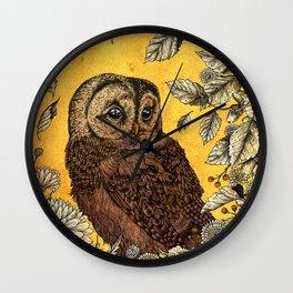 Tawny Owl Yellow Wall Clock