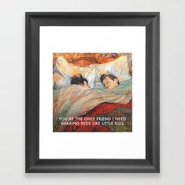 Sharing Beds Framed Art Print