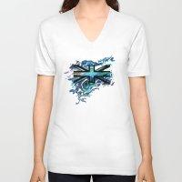 union jack V-neck T-shirts featuring Union Jack by Boz Designs