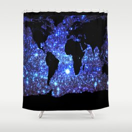 world Map Blue Swirl Galaxy Sparkle Shower Curtain