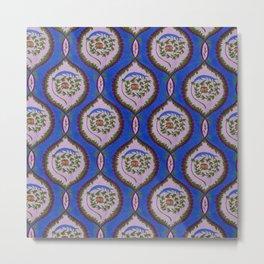 Classic Rose Pattern - intense blue Metal Print