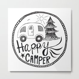 happy camper in black and white Metal Print