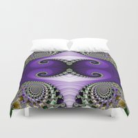 headdress Duvet Covers featuring The Empress Headdress by Mary Machare