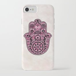 Watercolor Black  Pink Hamsa Hand iPhone Case