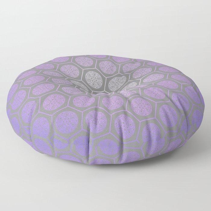 Hexagonal Dreams - Purple Blue Gradient Floor Pillow