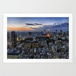 Tokyo Tower Cityscape at Dusk Art Print