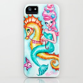 Pink Bouffant Mermaid Riding a Seahorse iPhone Case