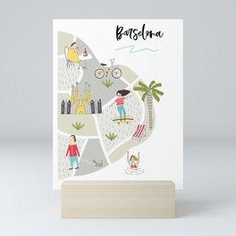 Barcelona Map Mini Art Print