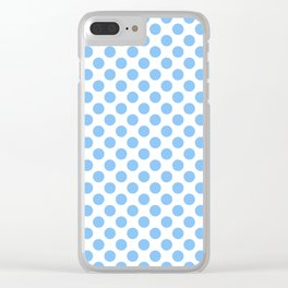 Light blue and white polka dots pattern Clear iPhone Case