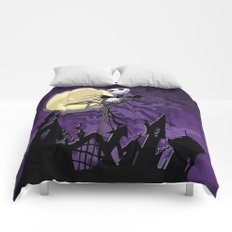 Halloween Purple Sky with jack skellington iPhone 4 4s 5 5c, ipod, ipad, pillow case tshirt and mugs Comforters