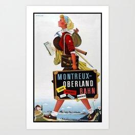 Montreux Oberland Bahn Travel Poster Art Print