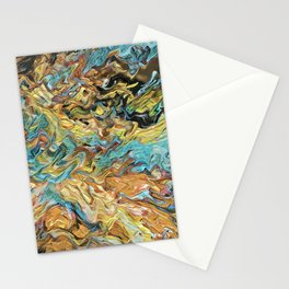Abstract Turquoise and Gold By Greenness Stationery Cards