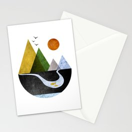 Scandinavian Mountains Abstract Geometric Landscape Stationery Cards