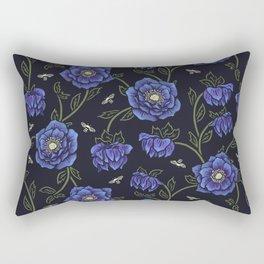 Midnight Hellebore Rectangular Pillow