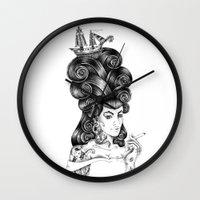 rockabilly Wall Clocks featuring rockabilly by vasodelirium