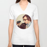 woody allen V-neck T-shirts featuring WOODY ALLEN by VAGABOND