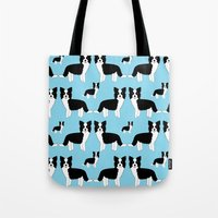 border collie Tote Bags featuring Border Collie  by Heroinax