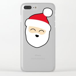 Smiling Santa Face Clear iPhone Case