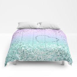 Sparkling MERMAID Girls Glitter Heart #1 #decor #art #society6 Comforters