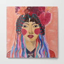 """""""A Tibetan Woman"""" with Flowers on her Head, colorful hair and beads. Metal Print"""