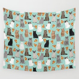 Cats with Pizza slices cheesy food funny cat lover gifts by pet friendly pet portraits Wall Tapestry