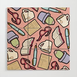 Book Club in Pink Wood Wall Art