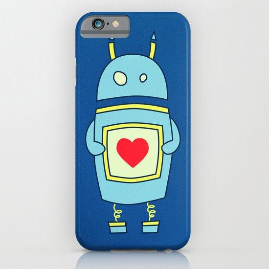 Blue Cartoon Robot With Heart iPhone & iPod Case