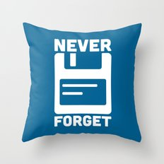 Never Forget Floppy Disk Throw Pillow
